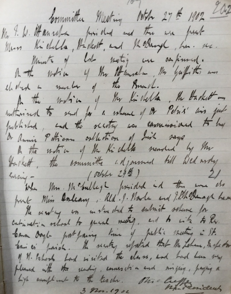Minutes of 27th October 1902 - written by Thomas MacDonagh